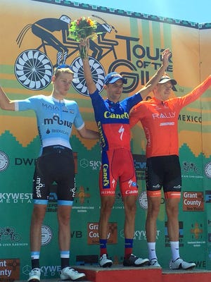 Oscar Sanchez, middle won the Mogollon Road Race on Wednesday. Rob Britton of Rally Cycling was second, while Alexander Evans of Mobius was third.