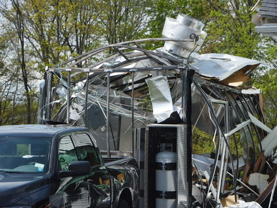 A destroyed food truck on Frieda Lane in LaGrange, which exploded in the early hours of Tuesday, May 10.