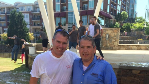Carl Sobocinski and Bob Munnich take the ALS Ice Bucket Challenge.