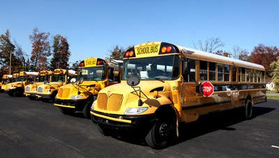 A group of Bullitt County Public Schools buses in 2012.