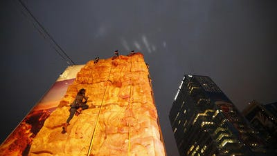 The Grand Canyon Experience climbing wall (above) that was part of Verizon Super Bowl Central in downtown Phoenix during Super Bowl week will make its permanent home at a Phoenix park.