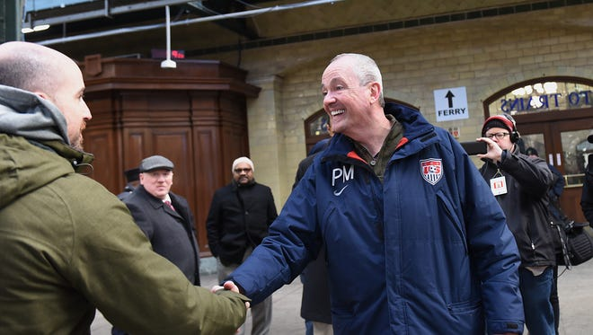 Phil Murphy visits Hoboken on Saturday January 13, 2018. One of the stops was the Hoboken train station, where Murphy spoke with commuters.