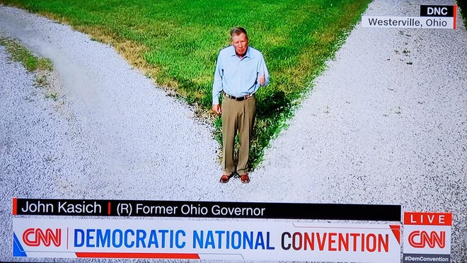 "John Kasich invoked his ""Two Paths"" theme in speaking Monday night in support of Joe Biden in recorded remarks at the virtual Democratic National Convention."