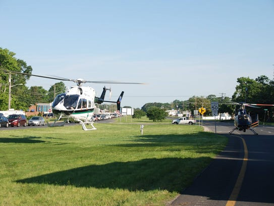 Two helicopters responded to the scene of the crash
