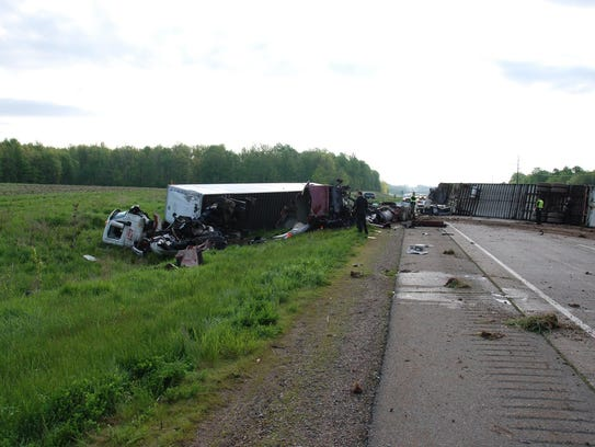 Two semi trucks crashed on State 29 on May 25, 2017.