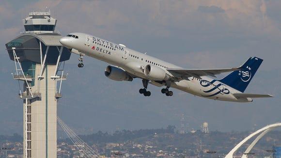 A Delta Boeing 757-200 departs Los Angeles International
