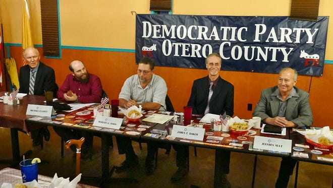 Five of the six candidates attended the Democratic Party of Otero County's monthly meeting on Tuesday evening to meet with community members.
