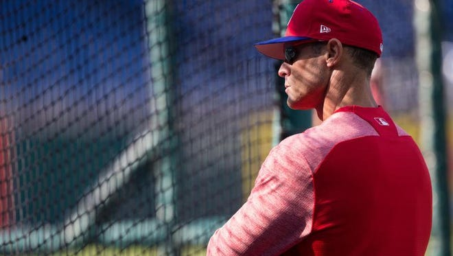 Apr 20, 2018; Philadelphia Phillies manager Gabe Kapler watches batting practice before a game against the Pittsburgh Pirates at Citizens Bank Park.