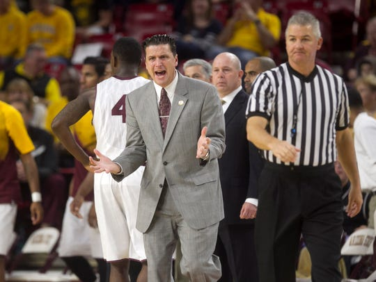 Then-ASU assistant coach Barret Peery shouts during the first half of the men's college basketball game on Saturday, Dec. 13, 2014, at Wells Fargo Arena in Tempe, Arizona.