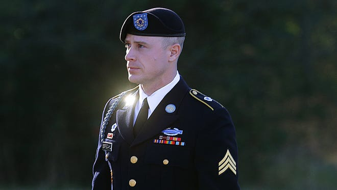 In this Jan. 12, 2016, file photo, Army Sgt. Bowe Bergdahl arrives for a pretrial hearing at Fort Bragg, N.C. The Army sought to have U.S. Sen. John McCain back away from statements about punishment for Bowe Bergdahl because of concerns about hurting the soldier's right to a fair trial, according to newly released emails.