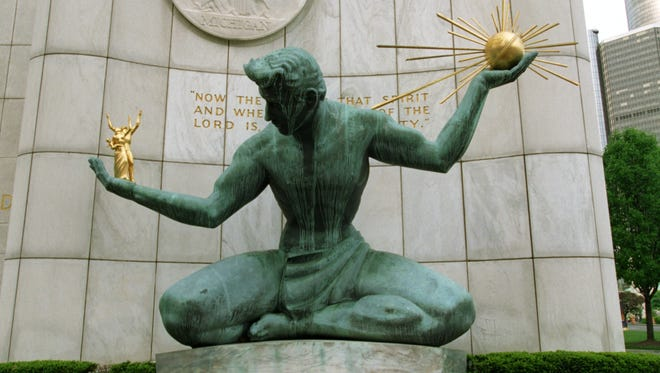 The Spirit of Detroit statue at the Coleman A. Young Municipal Center in downtown Detroit.