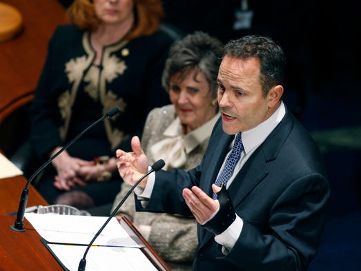 Kentucky's Governor Matt Bevin delivers a speech to