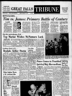 Front page of the Great Falls Tribune on Sunday, Sept. 10, 1967.