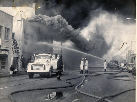 A fire engulf's Coleman's Department Store on New Haven Avenue in this 1966 photo.