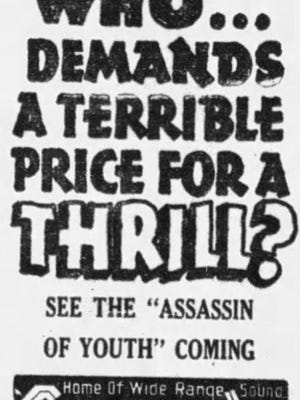 "An advertisement for the ""Assassin of Youth"" movie."