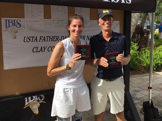 Longtime Martin County girls tennis coach Walt Scherer teamed with his daughter, 1995 Martin County graduate Elizabeth Scherer-Van Velzen (Chesapeake, Virginia), to finish third in the USTA Father-Daughter Clay Court Championships in West Palm Beach.