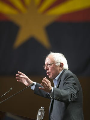 Presidential candidate Bernie Sanders speaks at the Phoenix Convention Center in Phoenix on July 18, 2015.