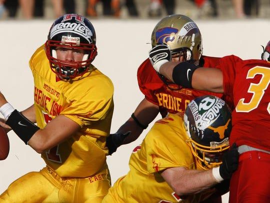 Quarterback Wes Kragt looks for a receiver during a past Shrine Game.