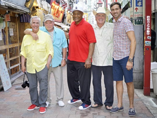 Jeff Dye, right, with, from left, Henry Winkler, William