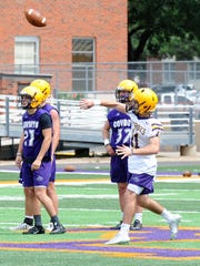 Hardin-Simmons quarterback Landry Turner fires a pass during the team's first fall practice on Thursday at Shelton Stadium. Turner is one of the quarterbacks battling for the Cowboys starting spot.
