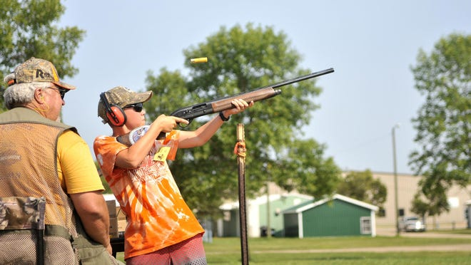 Calvin Darling, 14, of Moorhead, took a turn at the shooting line Aug. 14 during Woodie Camp, a weeklong immersion into all things waterfowl put on by the Minnesota Waterfowl Association at the U.S. Fish & Wildlife's Prairie Wetlands Learning Center outside Fergus Falls. Campers learn about everything from decoy painting to shooting skills.