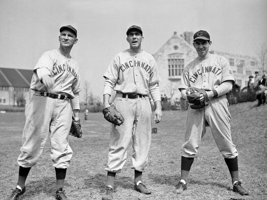 579859067e5 Three members of the Cincinnati Reds  Hurling Corps