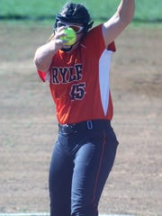 Ryle junior Hannah Bishop pitches for the West during