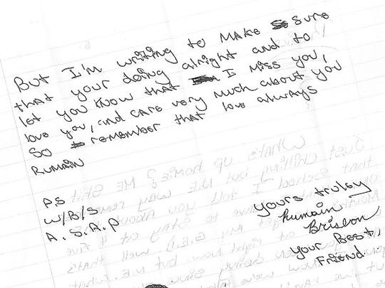 A letter to Remica Bingham-Risher from Rumain Brisbon in 1997.