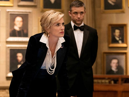 """Sharon Stone plays the vice president  and Jeff Hephner is the secret agent assigned to  her in TNT's """"Agent X."""""""