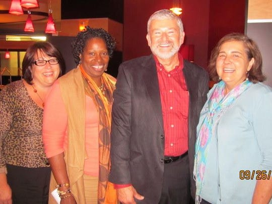 2012 photo of Georgea Kovanis, left, Cassandra Spratling, former Free Press Editorial Page Editor Ron Dzwonkowski, and Patricia Montemurri, left.
