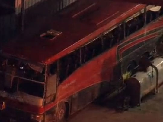 A bus involved in a fatal crash north of Laredo is