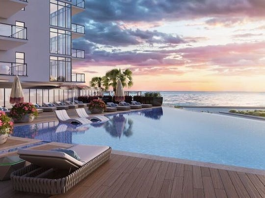 Rendering of planned unit for South Beach at Long Branch, two eight-story glass towers at 350 Ocean Ave., expected to be completed in about 22 months by FEM South Beach Urban Renewal.