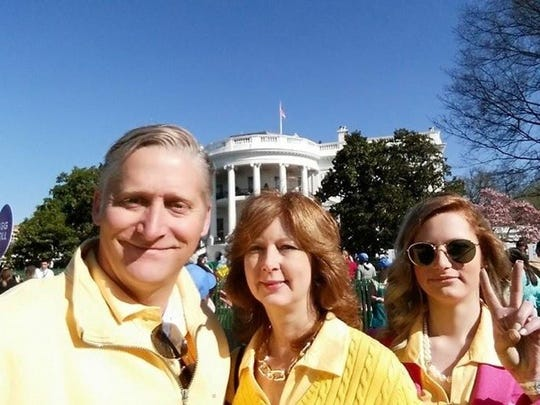 Chris and Pam Pierce pose with thier daughter, ElleAnne, at the 2015 White House Easter Egg Roll.