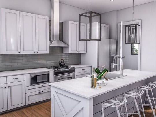 An up-close view of the kitchen in a unit at  Alabaster