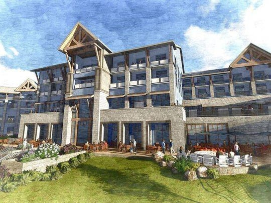 Here's a rear-view drawing of the new inn to be built