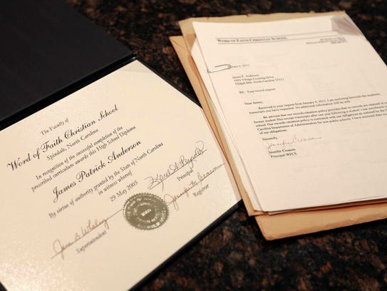 Jamey Anderson's high school transcript and diploma