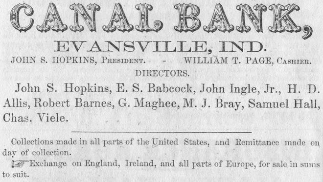 19th century advertisement for Canal Bank in Evansville, Ind.