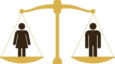 Balanced scale with a man and woman