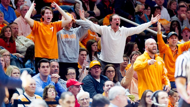 Fans react to a call during a game between Tennessee and Georgia on Saturday at Thompson-Boling Arena.