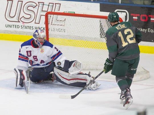 NTDP Under-18 goalie Jake Oettinger denies Sioux City's