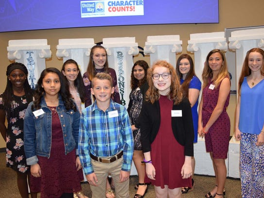 Middle School recipients:  Front left to right, middle
