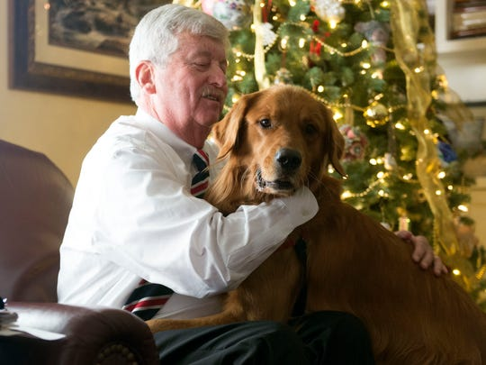 Sen. Randy McNally spends time at home with Shadow,
