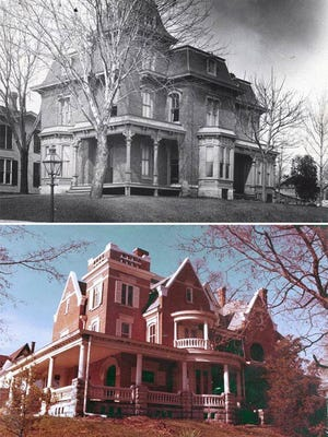 Built in the Second Empire style in 1876, the Carr house on East Broadway was remodeled in 1897 to resemble a palatial European manor house.