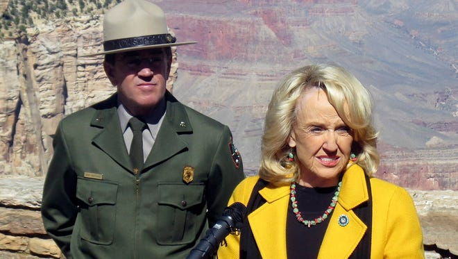 On Oct. 12, Arizona Gov. Jan Brewer announces the reopening of the Grand Canyon in Arizona.