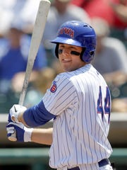 From 2012: Iowa Cubs' Anthony Rizzo watches the flight of the ball after a hit against Tacoma at Principal Park.