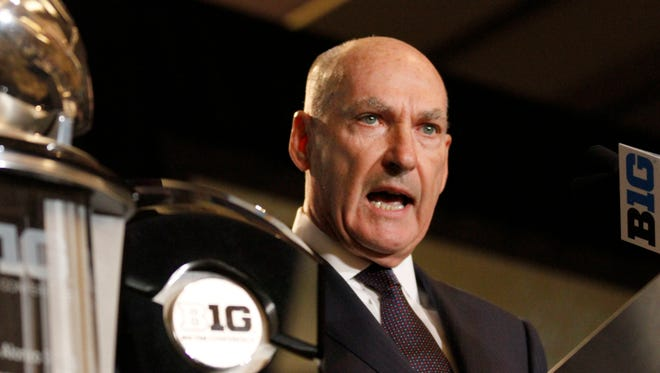 Big Ten commissioner Jim Delany speaks to the media at the Big Ten NCAA college football media days.