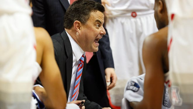 Arizona head coach Sean Miller talks to his team during a timeout against Xavier in the NCAA West Regional at SAP Center in San Jose, Calif. March 23, 2017. Arizona lost 73-71.