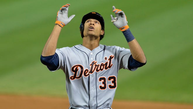 Detroit Tigers pinch-hitter Steven Moya celebrates his single in the ninth inning against the Cleveland Indians
