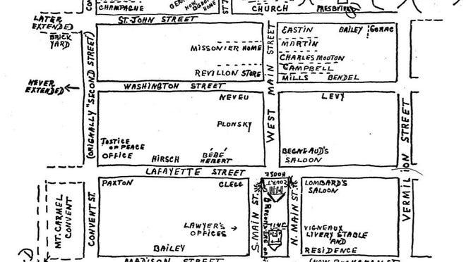 An 1880 map of Vermilionville.