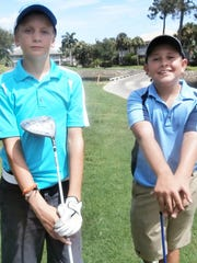 Ian Campbell, 12, of Marco Island, left, and Vincent Stoll, 12, of Fort Myers, enjoy participating in the Southwest Florida Junior Golf Association tournament at the Estero Country Club at The Vines.